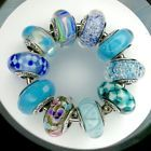 10 Authentic Pandora 925 ale silver beads charm glass murano teal and blue bubbl