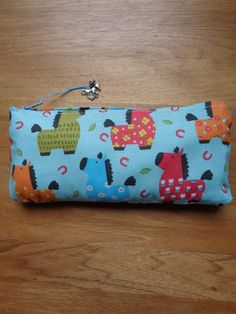Handmade horse, pony fabric design small make up pouch by CraftyBunnyDog on Etsy