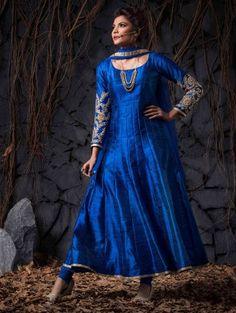 Blue Raw Silk Anarkali Suit with Cutdana Work