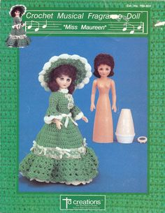 """Vintage Crocheted Dolls -- This vintage 1990 crochet doll pattern, Miss Maureen, will dress up your air freshener. TD Creations published at least 4 of these adorable patterns. For Miss Maureen you will crochet a skirt for fragrance doll cover, overskirt ruffle for fragrance doll,skirt for freestanding 15"""" fashion doll, fragrance doll cone body cover, sleeves, jabot, hat, and music box pocket. Music boxes can be found in theCrafts & Supplies section of Nook Cove by NookCove, $5.50"""
