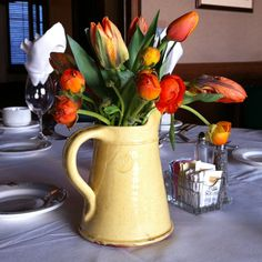 This French Milk Pitcher in Butter Yellow is a cool, rustic contrast to the bright tulips $128 #Emilia Ceramics Ceramic Studio, Shades Of Yellow, Happy Colors, Ceramic Artists, Tulips, Contrast, Milk, Butter, Vase