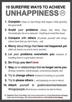 Ways to achieve Unhappiness via www.Facebook.com/CareerBliss