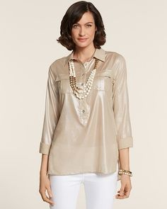 """Featherweight cotton with metallic shimmer. Our utility-inspired top is designed to flatter. Go long over lean for a look you'll love.   Decorative epaulettes flatter the shoulders.  Patch chest pockets.  High-low hem.  Length: 30+"""".    100% cotton.  Hand wash. Imported."""