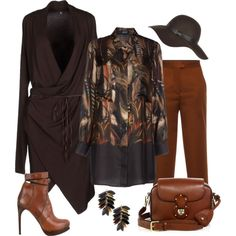 Fall Brown Mix by romaboots-1 on Polyvore featuring Mirto, European Culture, MSGM, COSTUME NATIONAL, Ralph Lauren, Ashley Pittman and River Island