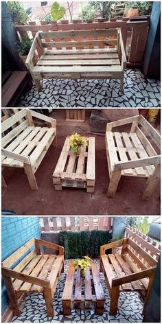 You can eventually take this wood pallet creation as some sort of the small furniture set up of the benches and table piece that is being set in a creative impressive way. You can favorably make it locate in your living room or house garden areas. Bring a Pallet Furniture Designs, Pallet Patio Furniture, Diy Garden Furniture, Furniture Ideas, Furniture Care, Rustic Furniture, Furniture Makeover, Furniture Refinishing, Living Furniture