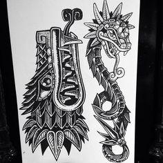 Aztec Tattoos Sleeve, Aztec Tribal Tattoos, Mayan Tattoos, Aztec Tattoo Designs, Aztec Art, Turtle Tattoos, Tattoo Aztecas, Dark Tattoo, Tattoo Drawings