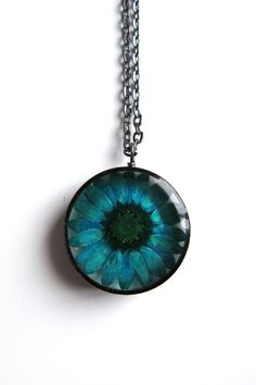 Teal Daisy Resin Pendant Necklace  Real daisy by ScrappinCop, $12.50