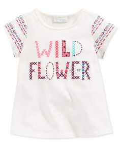 First Impressions brings baby girl colorful style with this cotton T-shirt featuring a fun graphic print. | Cotton | Machine washable | Imported | Crew neck | Short sleeves | Graphic print at front an
