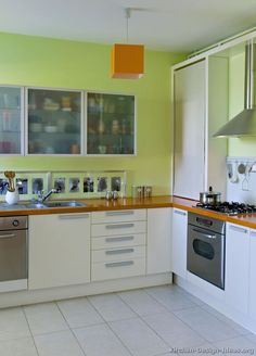 Idea Of The Day: Modern White Kitchen With Green Walls, YUM! Kitchen Design  Ideas · Color Schemes