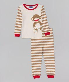 04937d2fbd Love this Tan Stripe Monkey Pajama Set - Infant
