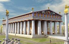 Temple of Zeus at Olympia, PhidiasThe Statue of Zeus at Olympia was a giant seated figure, about 13 m (43 ft) tall,[1] made by the Greek sculptor Phidias in circa 435 BC at the sanctuary of Olympia, Greece, and erected in the Temple of Zeus there. A sculpture of ivory plates and gold panels over a wooden framework