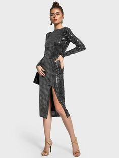Buy Missguided Black Sequinned Deep Back Bodycon Dress for Women Online in India Sequin Dress, Bodycon Dress, Black Body, Online Dress Shopping, Missguided, Female Bodies, Dresses Online, Sequins, India