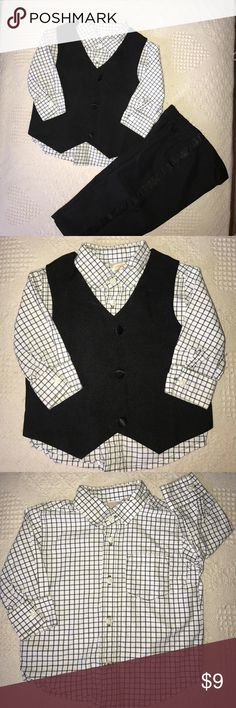 Baby Boy 2 piece tux w/ dress shirt Starting Out brand black Tuxedo pants & vest with Gymboree black/white checkered cotton dress shirt, all in size 12 months. Tux is 100% polyester. EUC. Matching Sets