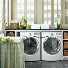 Tile is a pretty and practical choice in this light-filled laundry room.