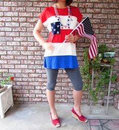 Made In USA Color block patriotic 4th of July Independence Day modal tunic #v #Tunic #Casual