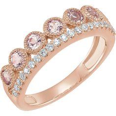 Morganite and 1/5 ct tw Diamond Ring in 14k Rose Gold