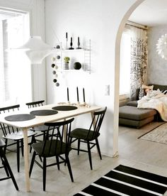 Modern black and white Scandinavian style dining area. French Interior, Interior Design, Scandinavian Style, My Dream Home, Dining Area, Living Room Designs, Home Goods, Sweet Home, New Homes