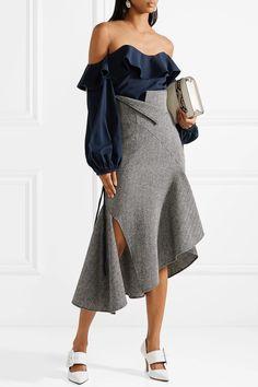 Oscar de la Renta | Tulle-paneled stretch-silk top | NET-A-PORTER.COM