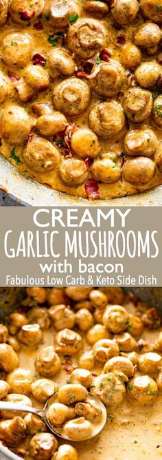 Deliciously Creamy Garlic Mushrooms with Bacon are a fabulous side dish prepared with butter garlic bacon and cream We love this easy delicious and quick dish that is also Low carb and Keto mushroomrecipes sauteedmushrooms sidedish via diethood Low Carb Side Dishes, Side Dishes Easy, Side Dish Recipes, Yummy Recipes, Keto Recipes, Healthy Recipes, Garlic Recipes, Easy Vegetable Side Dishes, Dinner Side Dishes