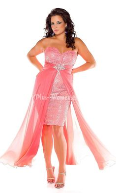 8699271d74f76 coral sequins strapless sweetheart high low plus size prom dress Prom  Dresses Online