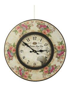 Ceas de perete cu tema The princess sleeps here () - Ceas vintage cu motive florale avand tema `The princess sleeps here` şi diametrul 34 cm. Shabby Chic Clock, Decorative Plates, Sleep, Retro, Floral, Vintage, Clocks, Home Decor, Princess