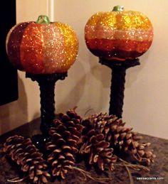 DIY Ombre Glitter Pumpkins ~Dollar Store Ideas!~