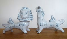 Very stylish looking pottery figures decorated with a greyish blue slip glaze With the Queens 'ER II' monogram These were produced in very small numbers to celebrate the Queens Jubillee 1953 Queen's Coronation, Lion And Unicorn, Vintage Ceramic, Retro Vintage, Lion Sculpture, Pottery, Queens, Ceramics, Statue