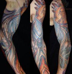 Bio Mechanical Color Sleeve Tattoo
