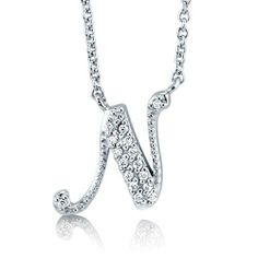 Cubic Zirconia CZ 925 Sterling Silver Cursive Initial Letter N Pendant - Nickel Free BERRICLE. $40.99. Stone Type : Cubic Zirconia. Nickel Free and Hypoallergenic. Stone Total Weight (ct.tw) : 0.09. Metal : Stamped 925. Gender : Women