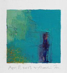 Hiroshi Matsumoto (b.1953). 'April 8, 2013' Oil on canvas, 9 x 9 cm.