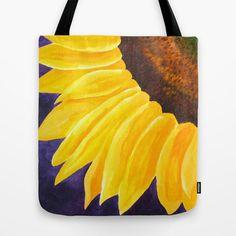 Big Tote Bag Sunflower on Purple 16x16 Art Print Tote by nJoyArt