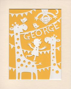 Nursery Art Personalised Jolly Giraffes Papercut - Jungle Nursery Art George or Name of Your Choice
