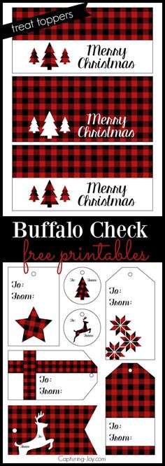 Buffalo Check Plaid Treat Topper and Gift Tags great for Christmas and holiday gift giving!