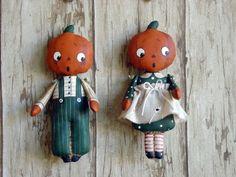 ITTY BITTY PUMPKIN HEADS-doll, cloth doll, doll pattern, cloth doll pattern, pumpkin head, ornament, Christmas, primitive doll, Halloween