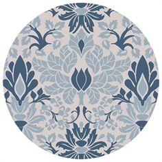 3' Indigo Garden Sea Blue & Putty Wool Round Area Throw Rug