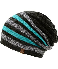 black, teal, and charcoal stripe beanie