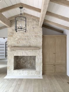 Stone veneer fireplace? Light Stone French Fireplace | Brooke Giannetti | Velvet & Linen |
