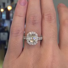 This Henri Daussi Diamond Engagement Ring was crafted to perfection with stunning diamond halo that surrounds a beautiful 1.30ct cushion cut diamond.