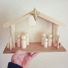 DIY nativity scene. stable from target, wooden people from hobby lobby