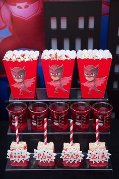 Party details from a PJ Masks Superhero Birthday Party via Kara's Party Ideas | KarasPartyIdeas.com (10)