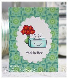 Quick Get Well card using Lawn Fawn stamps.
