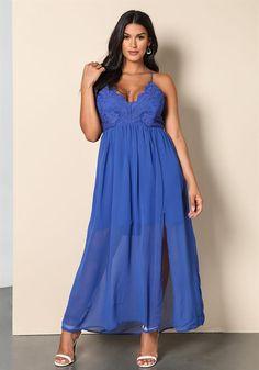 Plus Size Clothing | Plus Size Chiffon Cross Strap Maxi Dress | Debshops