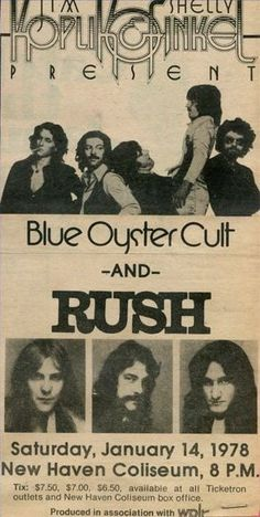 Blue Oyster Cult and Rush in one concert?????!!!! I was born in the wrong time!