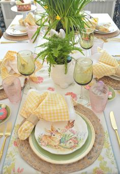 Sunny & Fresh Easter Tablescape Hello everyone. Easter is right around the corner and that means spring season too. Because after the brutal winter that we've had t… Easter Table Settings, Easter Table Decorations, Decoration Table, Easter Decor, Easter Ideas, Easter Centerpiece, Easter Dinner, Easter Brunch, Easter Party