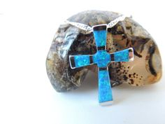 GREAT MOTHERS DAY GIFT !!! Blue Opal Cross Necklace Opal Jewelry by pnljewelrydesigns on Etsy, $35.00