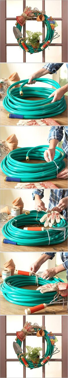 DIY Garden Hose Wreath DIY Projects | UsefulDIY.com