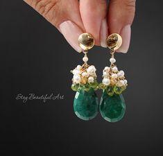 Emerald Earrings Pearl Peridot Earrings Gemstone Earrings Gold and Gemstone Cluster Earrings May Birthstone Green gem Earrings Gold Filled Emerald Earrings, Gemstone Earrings, Beaded Earrings, Sterling Silver Earrings, Earrings Handmade, Beaded Jewelry, Emerald Gemstone, Drop Earrings, Bijoux Diy