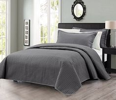 3pcs Solid Modern Quilted Coverlet Set (Queen, Charcoal) * Be sure to check out this awesome product.