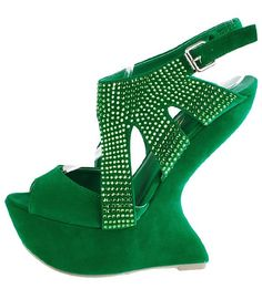 Green Gaga Wedge @ www.makemechic.com/p-43125-nixxon-studded-heel-less-wedges-green.aspx