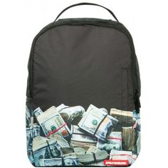 """Sprayground continues the money motif from Sprayground's original """"Money Stack"""" backpack by bringing you the """"Money Rolled"""" backpack. The Money Rolled b. Rucksack Backpack, Black Backpack, Laptop Backpack, Versace, Rolling Backpack, Men's Backpacks, Gucci, Louis Vuitton, Printed Bags"""
